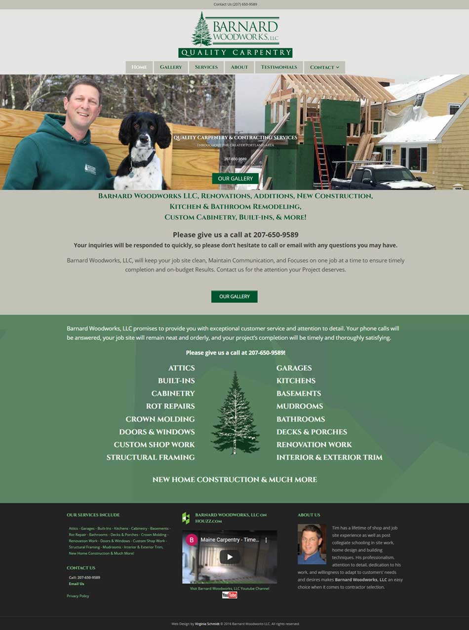 Barnard Woodworks website screenshot