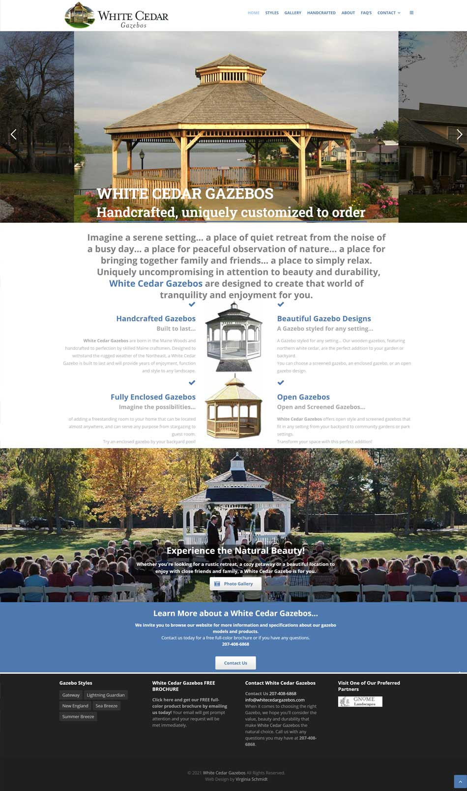 White Cedar Gazebos website screenshot